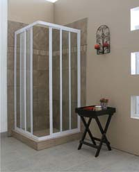 Framed shower corner entry